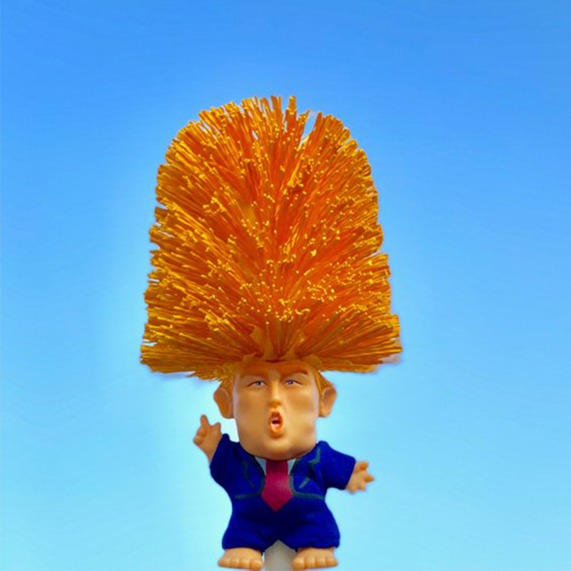 Donald Trump Toilet Brush Cleaner Scrubber Funny Trump Toilet Bowl Brush and Holder Gag Gift Doll for Bathroom Deep Cleaning Make Toilet Great Again