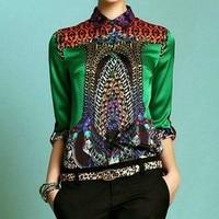 Print Silk Shirt Fashion Women's Long sleeve Blouses & Shirt Plus Size 5XL Office Lady Green Blouses