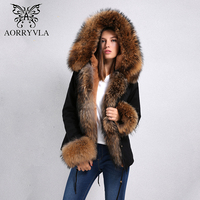 AORRYVLA 2018 New Women Jacket Winter Short Natural Real Raccoon Fur Collar Hooded Detachable Faux Lining Thick Winter Jacket