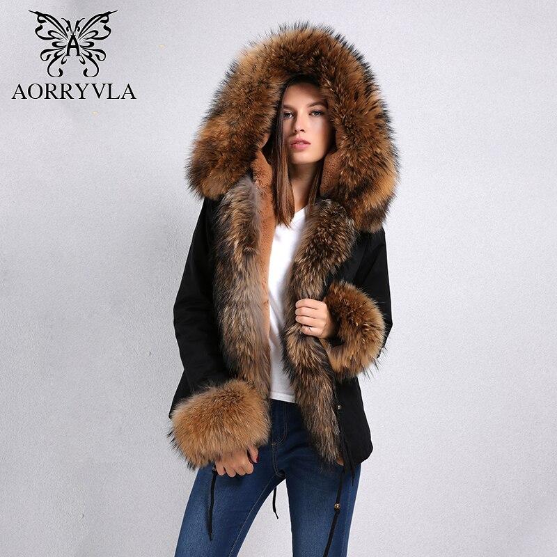 AORRYVLA 2018 nouvelle veste femme hiver court naturel réel fourrure de raton laveur col capuche amovible fausse doublure épaisse veste d'hiver