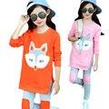 2016 Novos Conjuntos de Roupas Meninas Inverno Fox Padrão T-Shirt + Legging 2 pcs Roupas Esporte Terno Crianças Meninas roupas Definir Roupas Infantis
