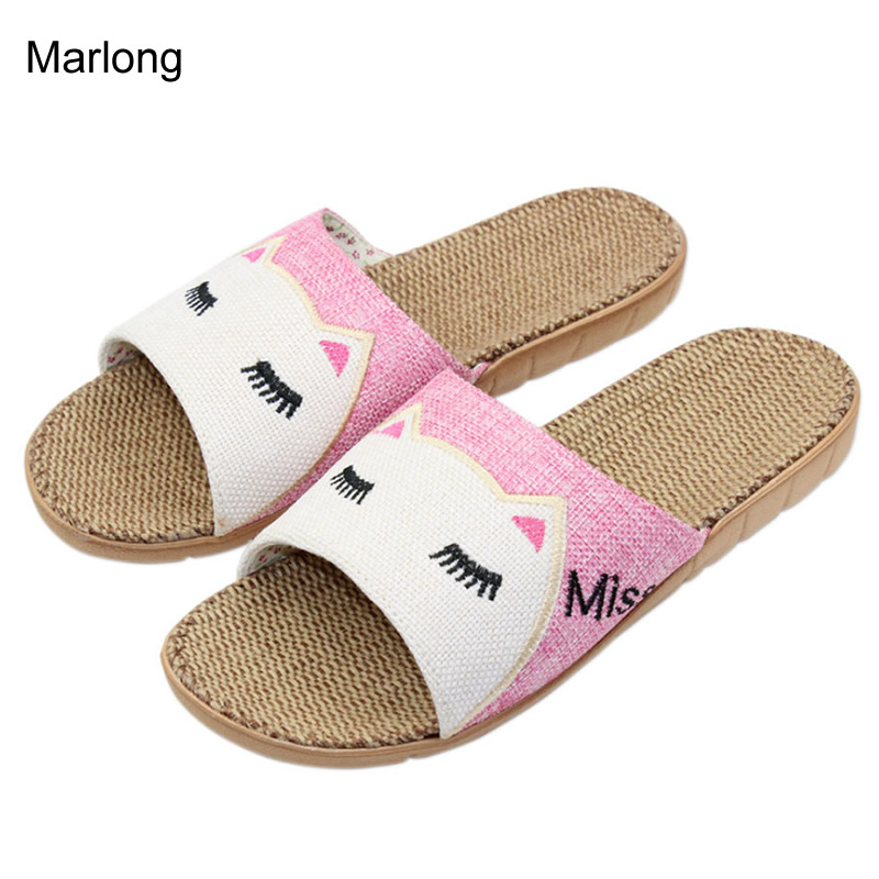 New 2017 Anti-slip Summer Indoor Slippers High Quality Flax Linen Home Shoes Men Women Girls Breathable Casual Floor Slippers coolsa women s summer striped linen slippers women hemp slides women s flax slippers breathable non slip fashion indoor slippers