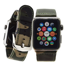 Leather Strap Camouflage Replacement Apple Watch Band Link Bracelet with Metal Buckle For Apple iWatch 38mm