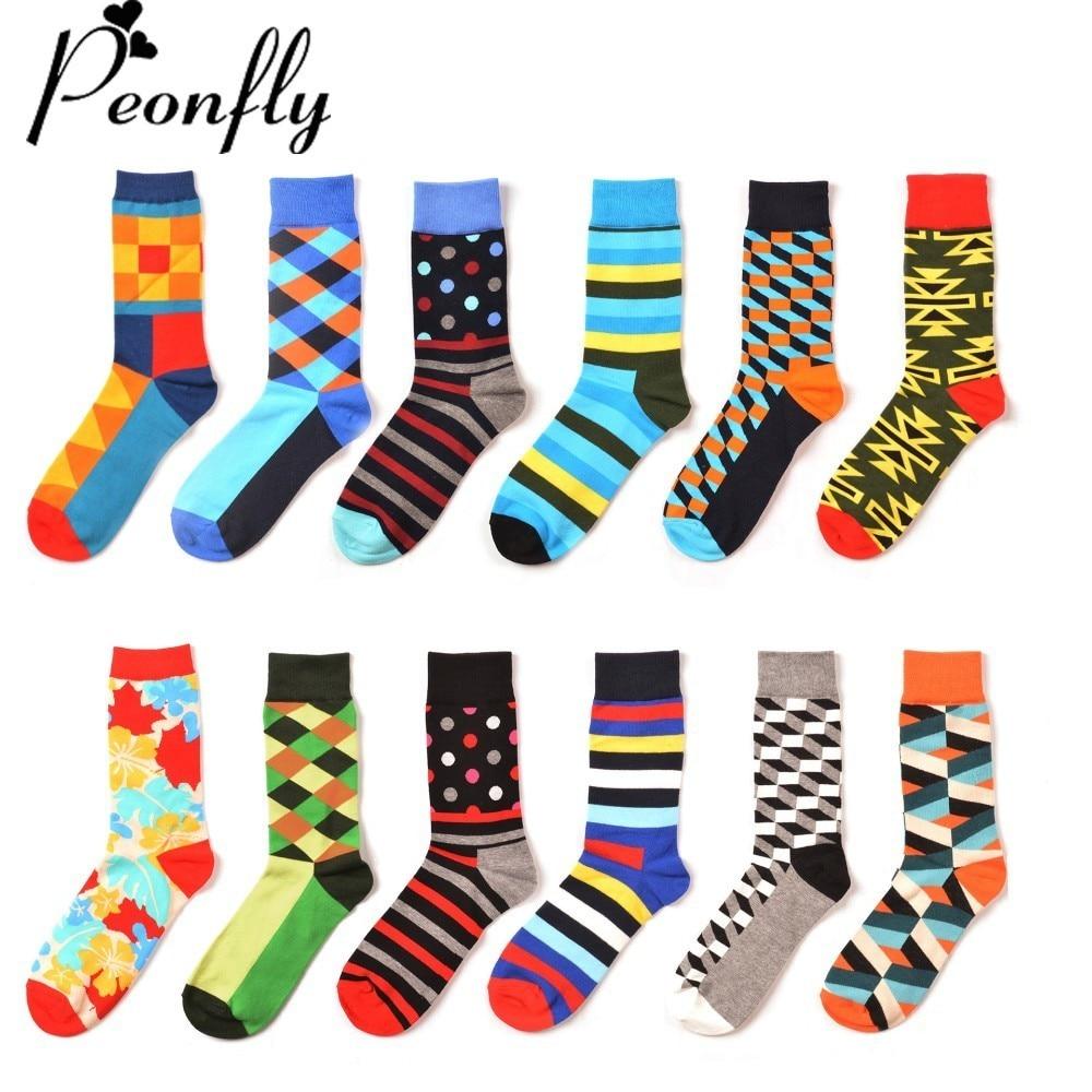 PEONFLY Fashion Colorful Socks Men Hit Color Stripes Lattice Jacquard Happy Funny Sock Cotton Male business Sock 12 Pairs / Lot