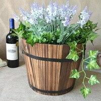 36set Lot Classic Wooden Cask Ornamental Retro Barrel Flower Pot Flower Planter For Wedding Home Balcony
