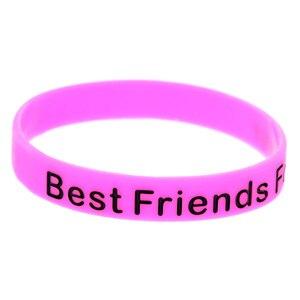 Image 4 - OneBandaHouse 50 sztuk/partia najlepsi przyjaciele na zawsze silikonowe opaski na rękę BFF strona dekoracji bransoletka