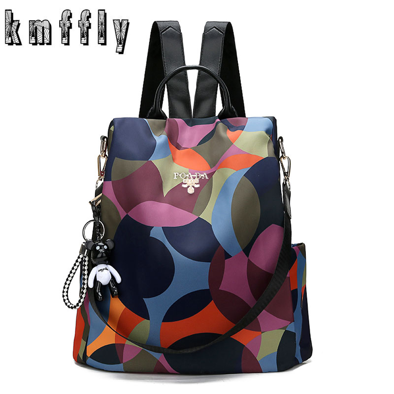 KMFFLY Backpack Casual Anti Theft Backpack for Teenager Girls Women Oxford Multifuction Bagpack Schoolbag 2019 Sac A Dos Mochila