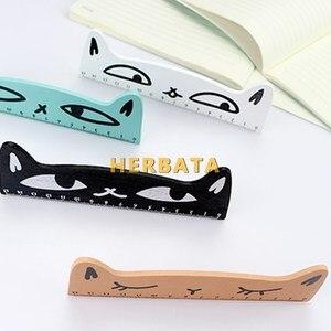 1 قطعة Kawaii القط تصميم حاكم مضحك القرطاسية خشبية الحكام مكتب الاكسسوارات المدرسة اجتماعيون الاطفال دراسة إمدادات CL-1304