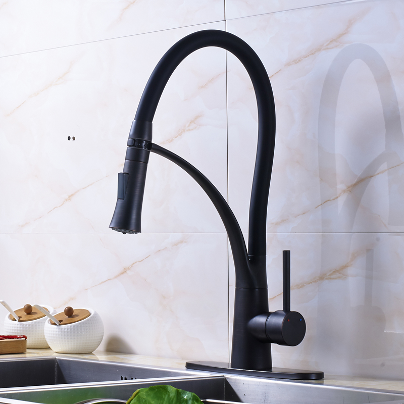 Oil Rubbed Bronze Single Handle Mixer Tap Swivel Spout Kitchen Sink Faucet with Cover Plate