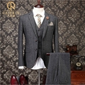 Elegant Grey Wool Men Suits Jacket with Pants Wedding Groom Work Mens 3 Pieces Suits Costume Homme (Blazer+Pants+ Vest)