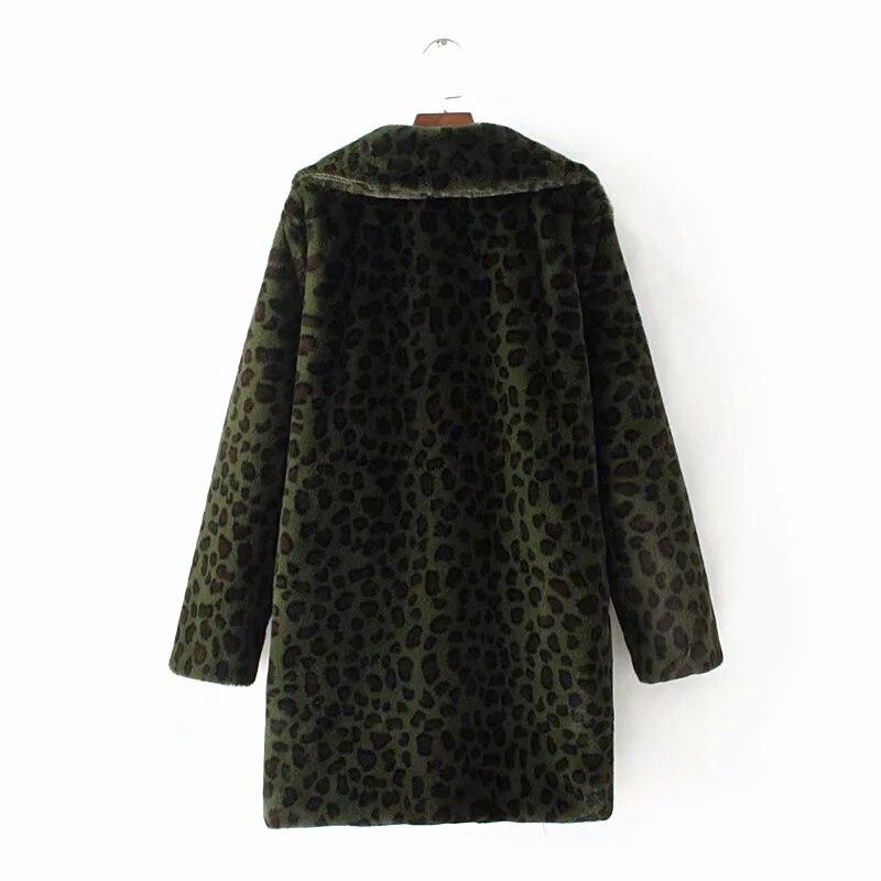 겨울 모피 자켓 따뜻한 표범 인쇄 가짜 모피 코트 streetwear 긴 소매 두꺼운 테디 코트 outwear abrigo mujer 레이디 롱 코트-에서인조 퍼부터 여성 의류 의  그룹 2