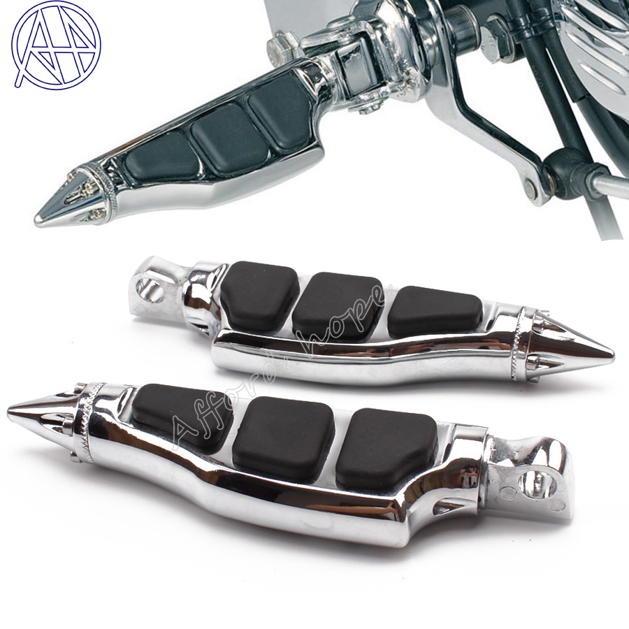 Free Shipping Spike Pegs Unique Stiletto Footrest Chroming Footpegs Pedal Fit For Harley Davidson Softail Sportster Dyna Custom