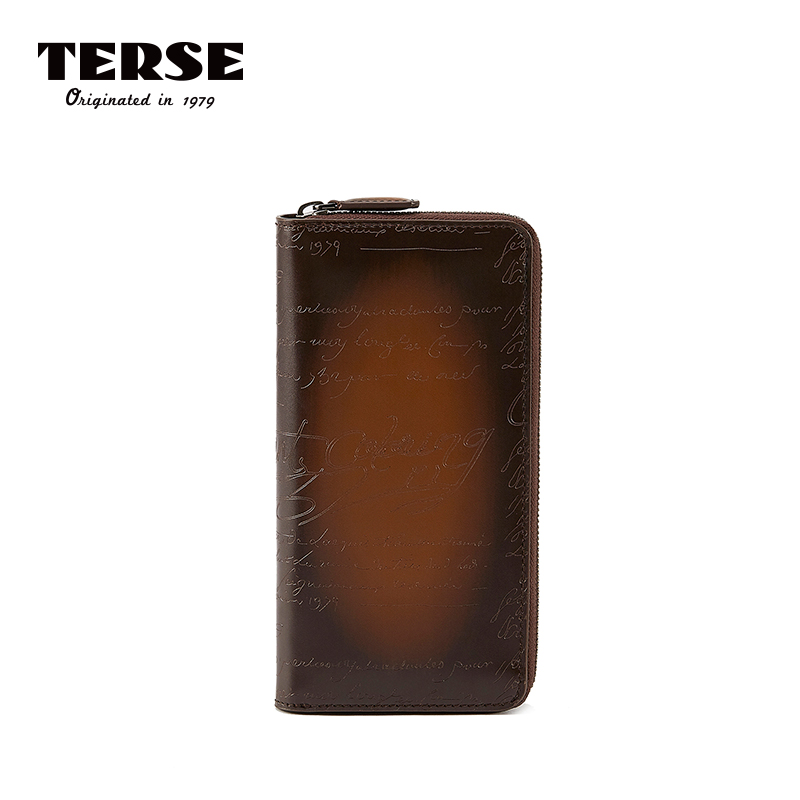 TERSE 2018 nueva llegada bolso de cuero genuino grabado cremallera larga carteras bolso hecho a mano con los portatarjetas personalizar Logo