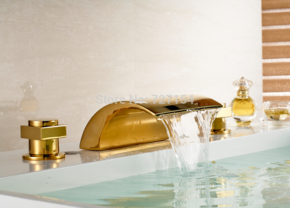 Free Shipping! New Widespread Spout Golden Finish Basin Faucet Waterfall Sink Mixer Dual Handle