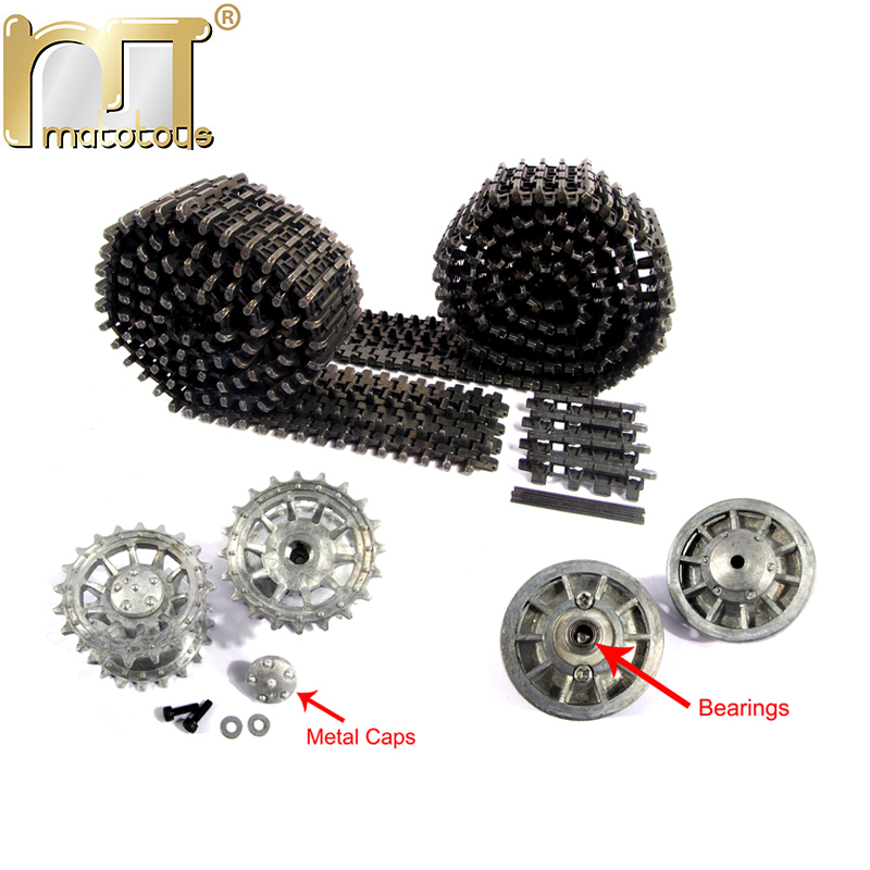 Mato Black Early Metal Tracks Sprockets With Metal Caps Idler Wheels With Bearings For Heng Long 3818 1/16 RC Tiger 1 Tank mato metal tracks sets sprockets with metal caps idler wheels with bearings for heng long 3938 russian t 90 1 16 tank
