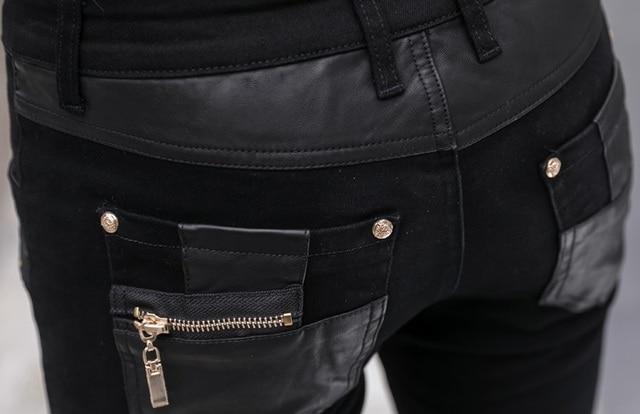 Fashion Men's Pant Faux Leather Jeans Spliced Denim Trousers Male Stretch Slim Fit Punk Stage Singer Motorcycle Casual Pants Men 5