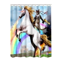 Waterproof Fabric Bathroom Shower Curtain Sheer Panel Decor 12 Hooks Rainbow Cat Knight Horse