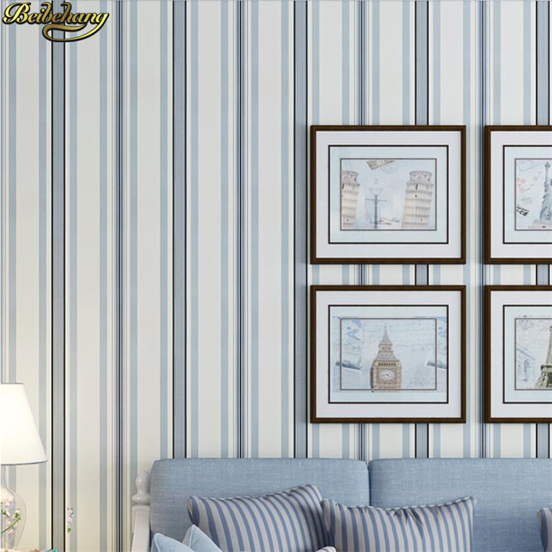 beibehang Vertical stripes Mediterranean Blue Paper Wallpaper Simple Living room Bedroom Study TV Background papel de parede beibehang mediterranean flower pastoral american personality wall paper bedroom living room background papel de parede wallpaper
