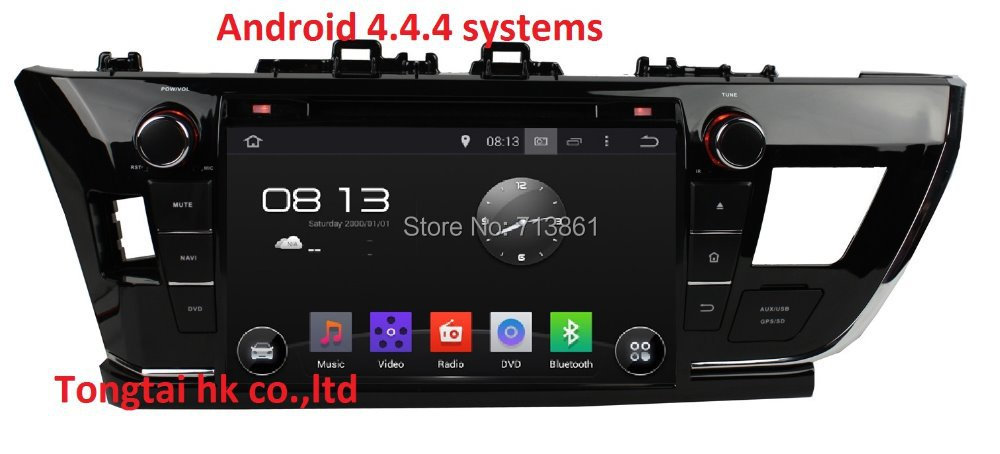 9 Android 4.4.4 fit for toyota corolla 2014 2 din car dvd,gps navigation 3G,Wifi,BT,support dvr,OBD2,dual core,Russian,english