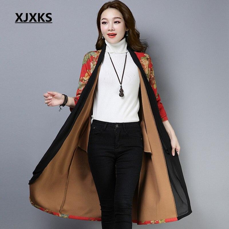 Xjxks Tissus Long Femelle Imprimer Mode 6 4 Confortables Automne Trench Manteaux 3 1 Femmes Manteau 2 De Vêtements Unique 5 Patchwork 2018 rOvZr7