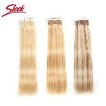 Sleek Doppel Gezogen Gerade Haar P6/613 Blonde P27/613 Brasilianische Menschliches Haar Bundles 1 Stück Nur Remy extensions Kostenloser Versand