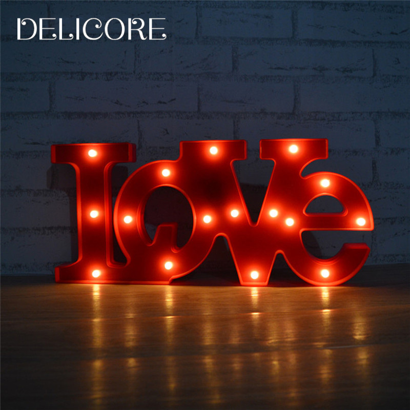 ФОТО DELICORE Romantic LED Lamp Red/White LOVE Marquee Sign Night Lights For Home Wedding Decoration Valentine Gift S002