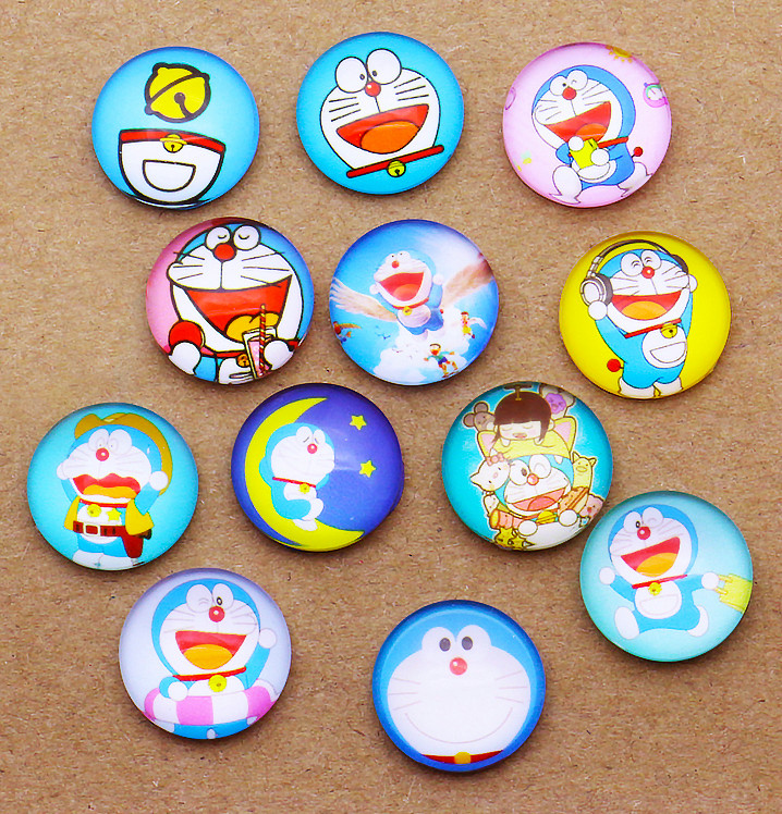 24pcs 16mm Doraemon & Jingle Cat Round Handmade Photo Glass Cabochons & Glass Dome DIY Handmade Cabochon BITWBI