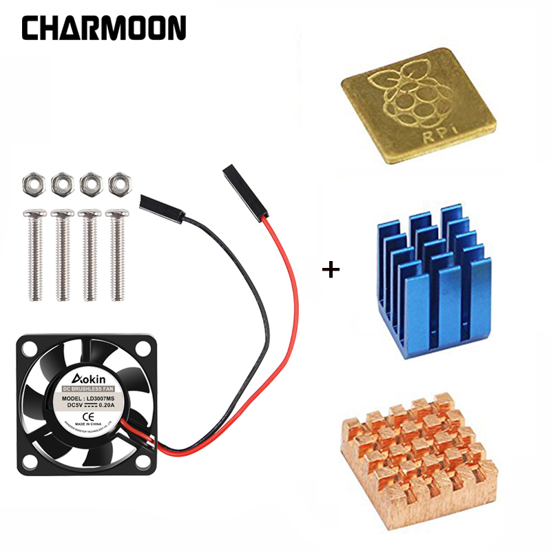 5V / 3.3V Cooling Fan With Screws +  Heat Sink 1 Aluminum With 2 Copper For Raspberry Pi 3 / Pi 2 Model B RPI B+
