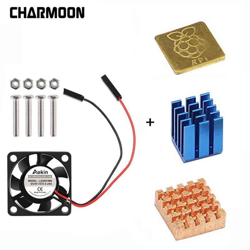 5V / 3.3V Cooling Fan With Screws +  Heat Sink 1 Aluminum With 2 Copper For Raspberry Pi 3 / Pi 2 Model B RPI B+