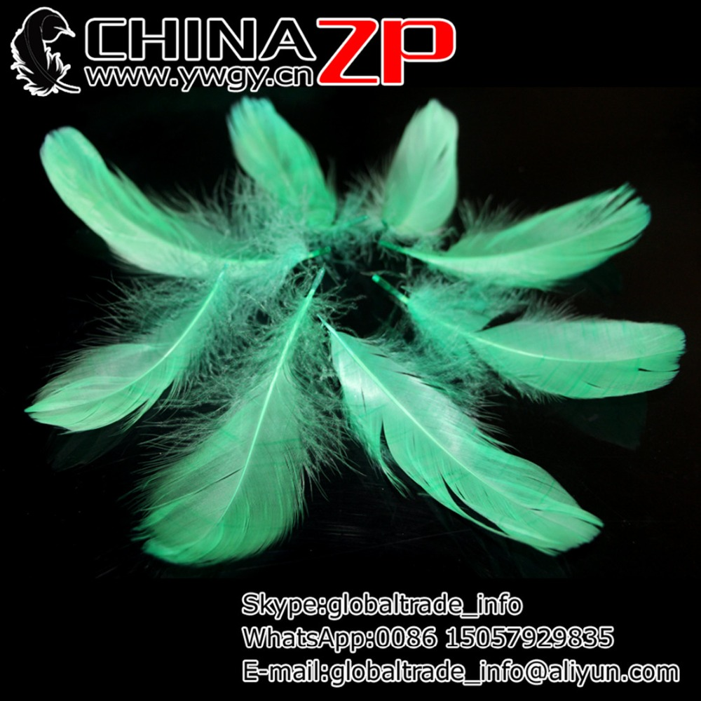 Gold Plumage Supplier CHINAZP Factory 200pieces/lot Unique Natural Dyed Mint Green Goose Nagoire Loose Feathers