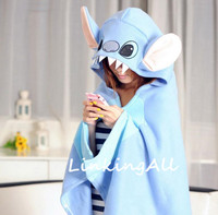 Lilo And Stitch Plush Soft Cloak Cape Cat Cartoon Pikachu Cloak Coral Fleece Air Blankets Birthday