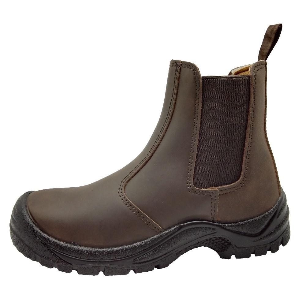 Estilo De Proteger Zapatos Anti perforación Cuero Trabajo Inglaterra Tobillo Vaca Seguridad Punteras Transpirable Acero Casual Botas qHZHxwgId