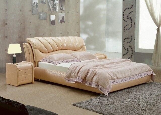 Top graded mucca genuino letto in pelle/morbido letto/letto matrimoniale  king/queen size camera da letto mobili per la casa marrone colore + 2 night  ...