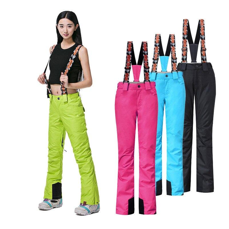 Gsou pantalon de sangle de Ski de neige imperméable coupe-vent rouge vert pantalon de sport d'hiver équipement de Snowboard pantalon de Ski coloré
