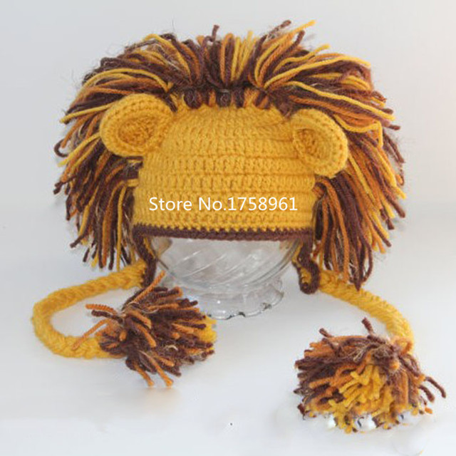 6a0252735a0 handmade baby photo props newborn photography props toddler Knitted Crochet  lion costume Infant animal hat For Girl Boy Gift