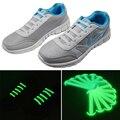 14 unids/pack Noctilucentes Cordones de Los Zapatos Cordones de Los Zapatos Sin Corbata Unisex Elástico de Silicona Para Hombres y Mujeres En La Oscuridad Fluorescente Cordones de Destello
