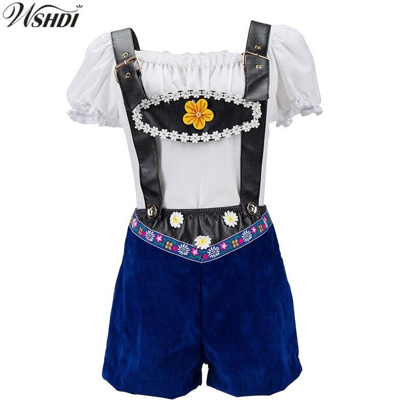 M-5XL 2018 Luxurious Embroidered Lederhosen Beer Maid Bar Costumes German Oktoberfest Girl Cosplay Uniforms Halloween Costumes