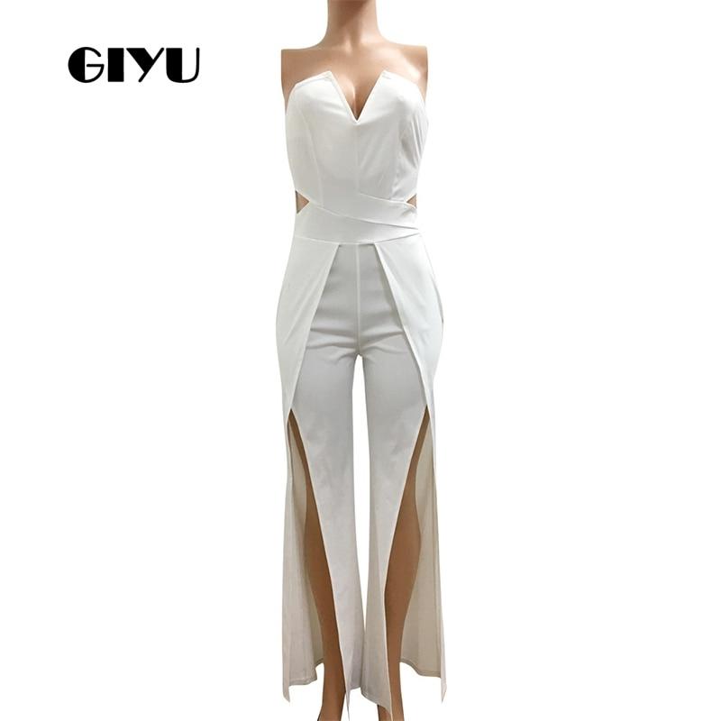 GIYU Solid Split Long Jumpsuits Women Sleeveless V Neck Overalls Sexy Backless High Waist Wide Leg Romper