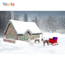 Yeele Vinyl Christmas Tree Snow House Elk Birthday Party Photography Backdrop Customized Photographic Background Photo Studio 8x8ft thin vinyl photography elk snow pine tree backgrounds christmas backdrop for photo studio cm 6382