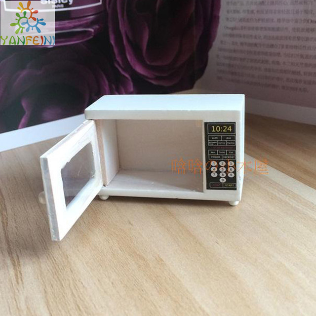 1:12 Model House Doll House Diy Cabin Mini Furniture Model Accessories  White Microwave