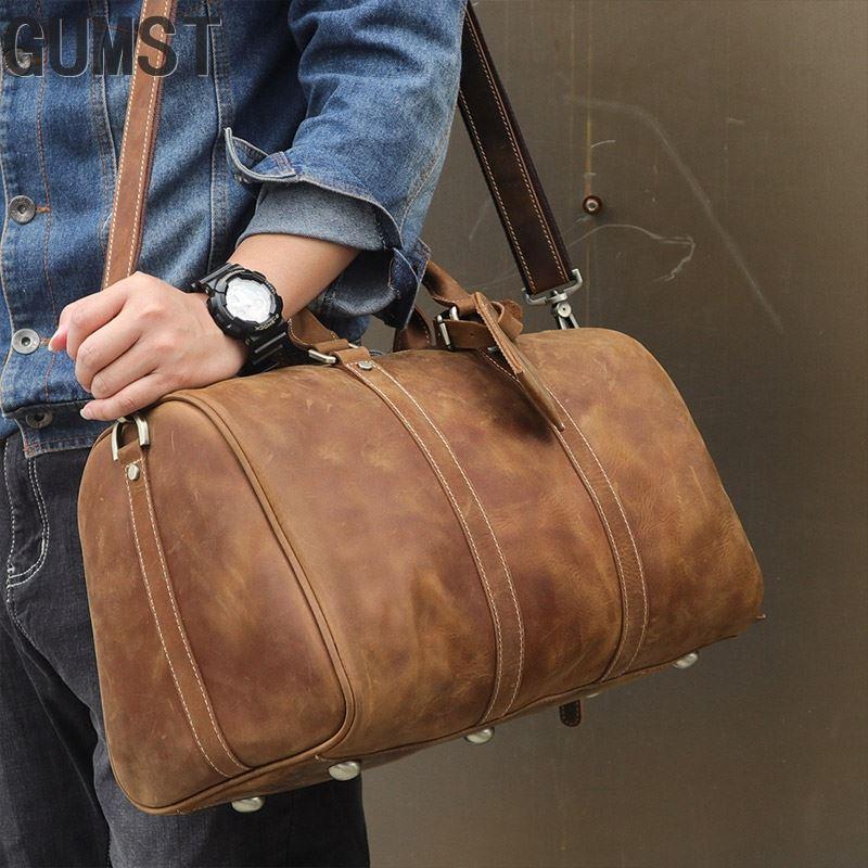 GUMST Brand Vintage Crazy Horse Genuine Leather Bag Men Duffle Bag Luggage Travel Bag Natural Cowhide Large Weekend Bag Hangbag
