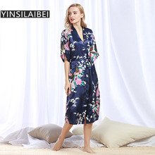 Горячий павлин цветочный принт летний сексуальный атласный халат Женская одежда для невесты кимоно шелковые свадебные пеньюары домашний халат SY142#0
