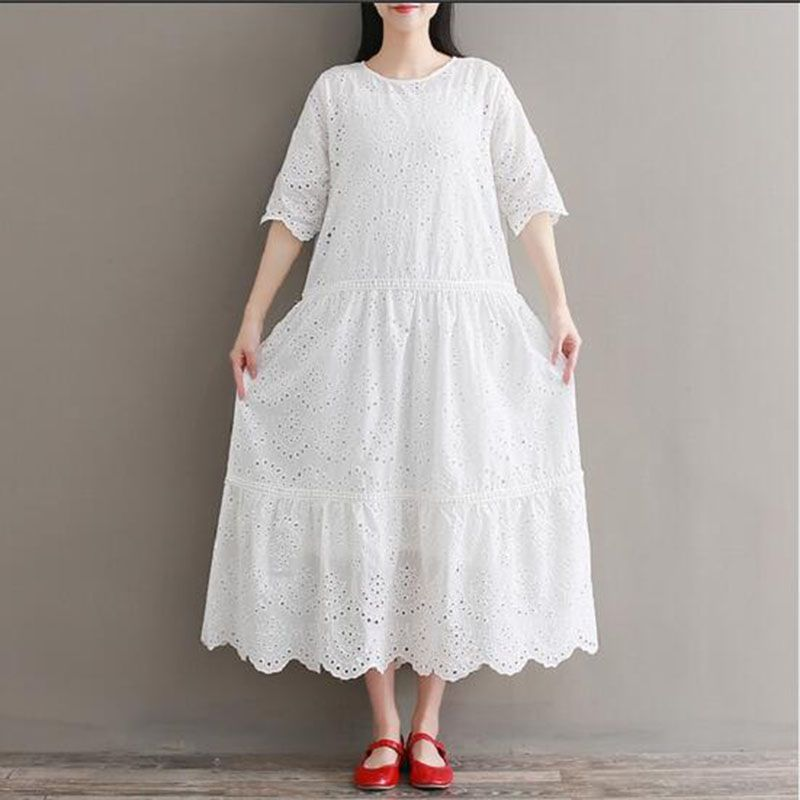 Mori Girl Embroidery Midi Dress Spring Summer Hollow Out White Cotton Dress Short Sleeve Elegant Party Vestido Longo girl