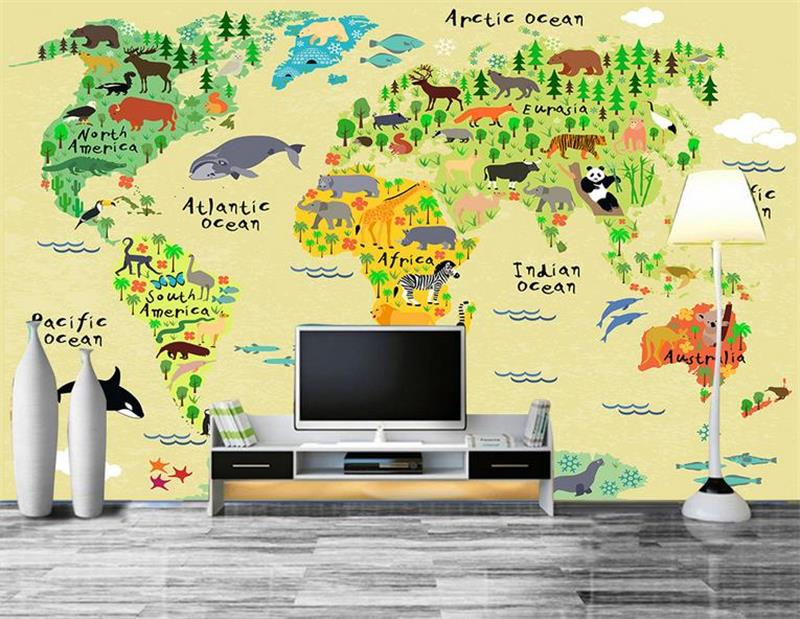 3d wallpaper custom photo wallpaper living room mural world map for children painting sofa TV background wallpaper for walls 3d free shipping cartoon pattern wallpaper leisure bar ktv lounge living room sofa children room background comics wallpaper mural