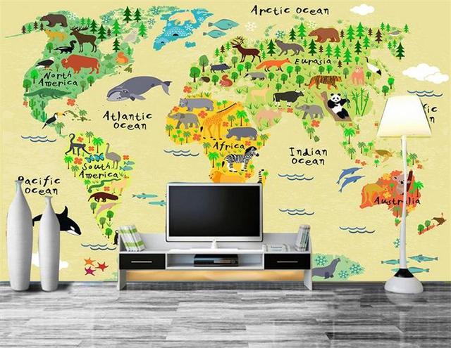 D Wallpaper Custom Photo Wallpaper Living Room Mural World Map For - Map of the world wallpaper for kids