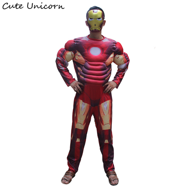 Iron Man adults Muscle Jumpsuits Mask Avengers Ironman Onesies Halloween Costume mens Clothes Movie Superhero Cosplay Clothing