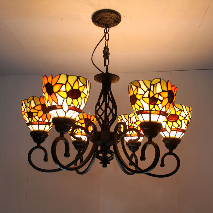 Sunflower Tiffany Glass Pendant Lamps  Minimalist  6 Lights  Living Room Lamps Bedroom Lamp Hotel Lights DIA 67 CM H 65 CM tiffany glass pendant lamps fashion style 3 lights living room lamps corridor light bedroom lamp dia 56 cm h 65 cm