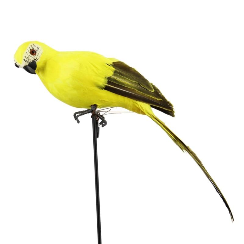 Ручной работы моделирование попугай сад Декор Творческий перо газон пена фигурка орнамент животное птица забор птица реквизит украшения - Цвет: Цвет: желтый