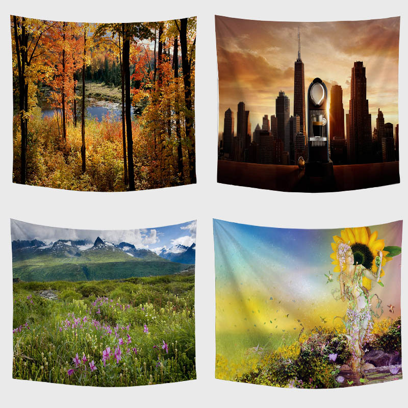 Unique Landscape Print Wall Tapestry Beach Wrap Yoga Forest Skyscraper Flower Farmhouse Family House Living Room Decoration