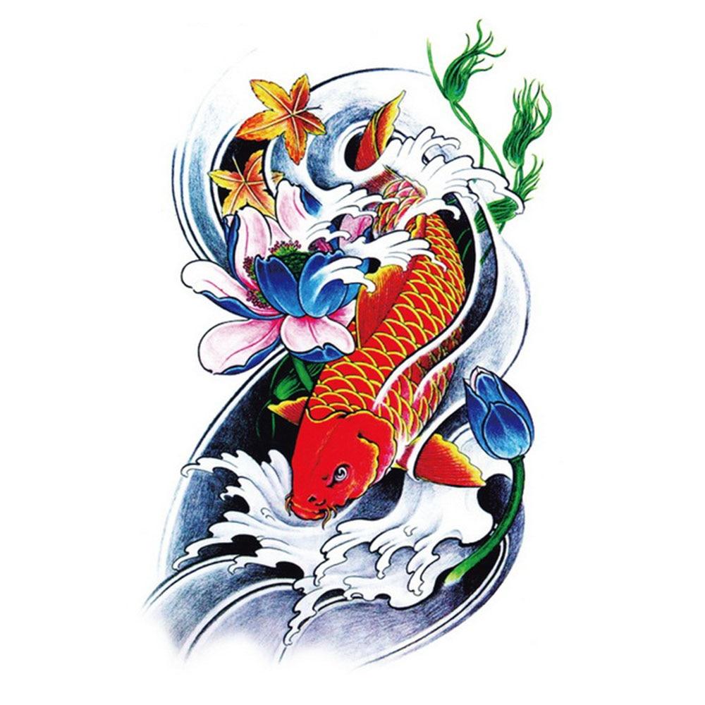 Yeeech Temporary Tattoos Sticker for Men Fake Large Carp Fish Lotus Maple Designs Arm Leg Hot Body Art Waterproof Long Lasting